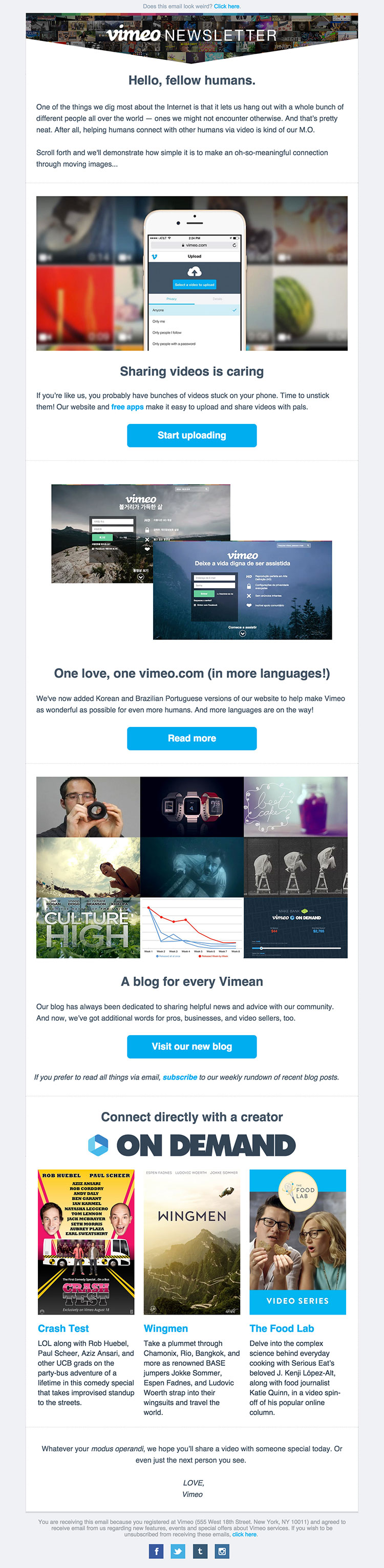 html email blast template - vimeo 39 s monthly newsletter html email gallery