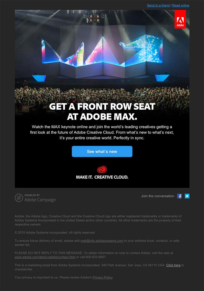 Email design minimal Adobe