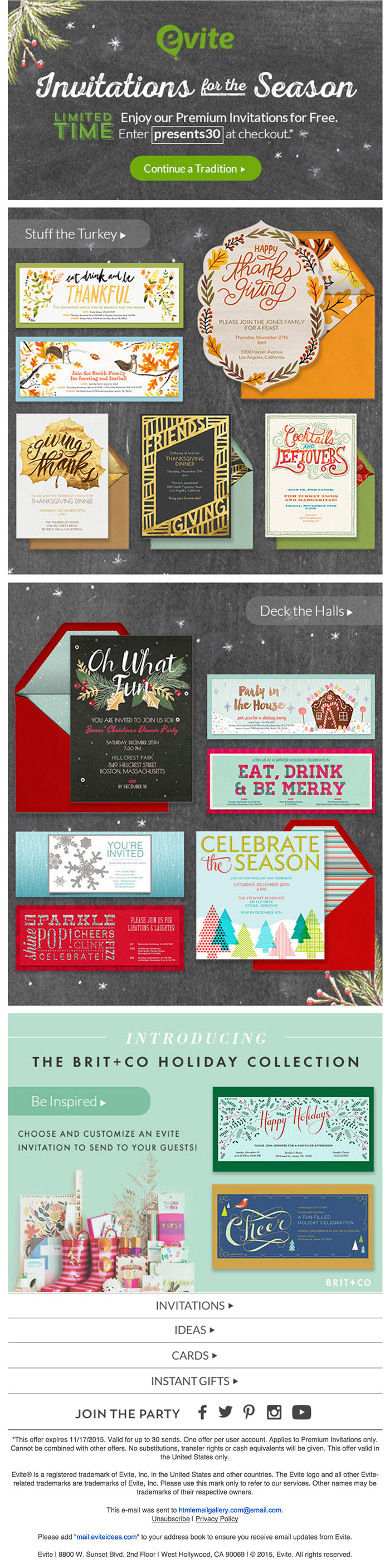 Thanksgiving Holidays email design ideas