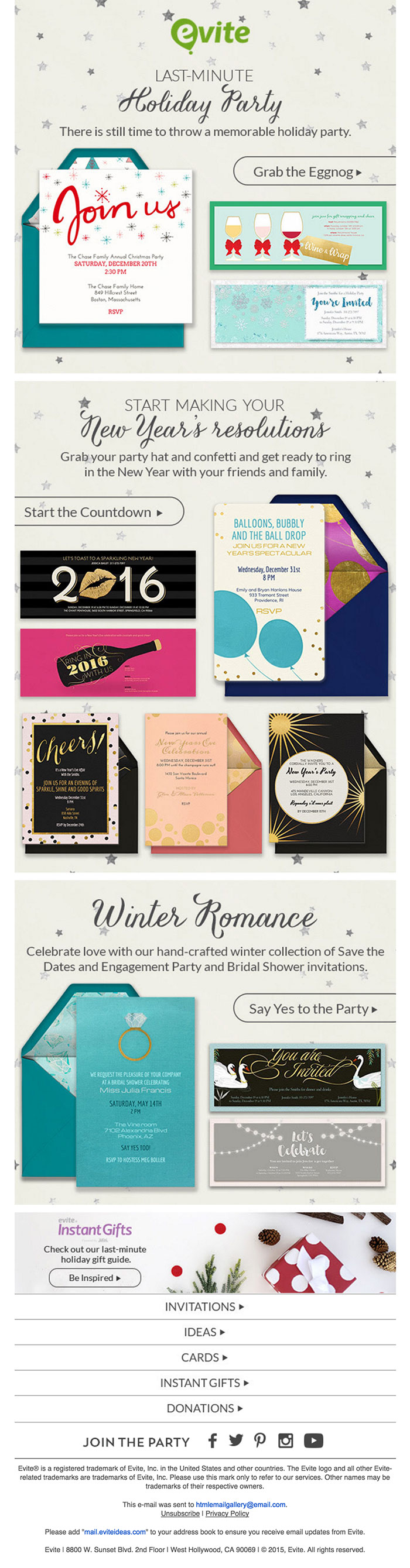 New Years html email design inspiration