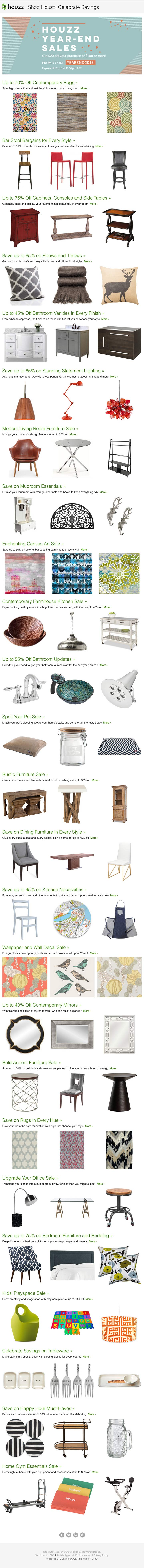 Email design for New Years savings on home supplies