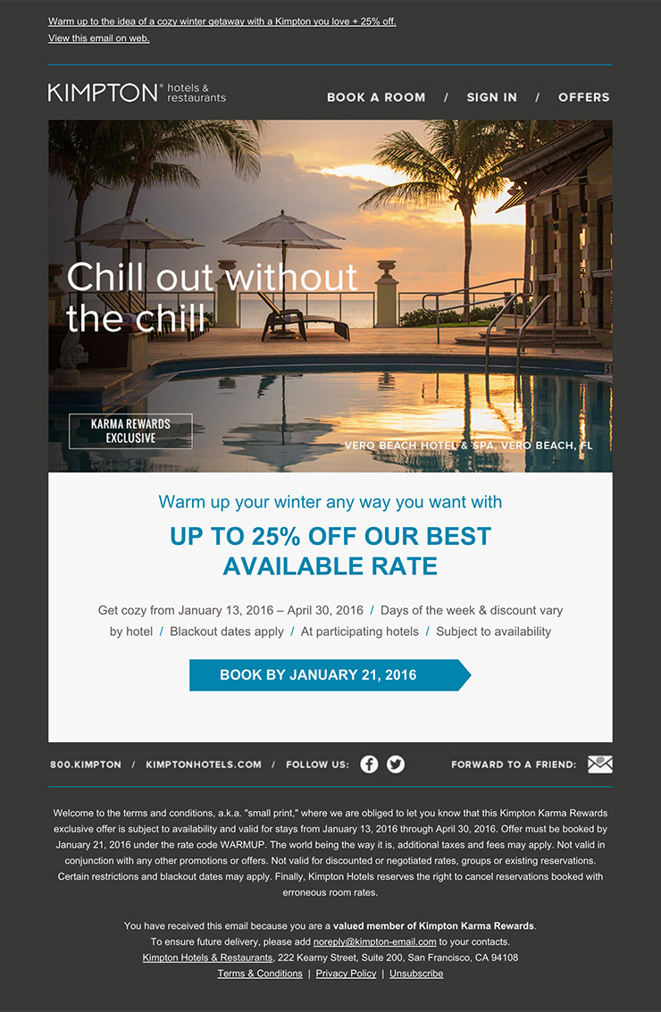 Nice and clean hotel email design