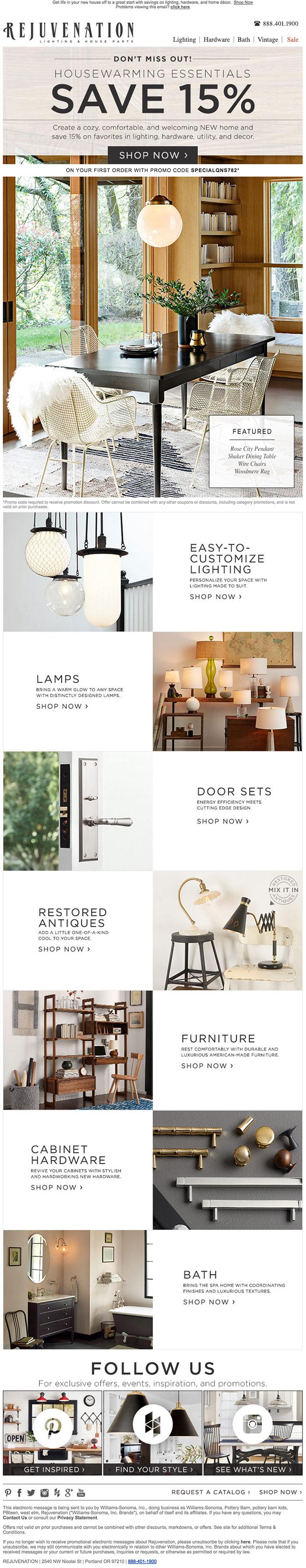 Rejuvenation Homegoods Email design example